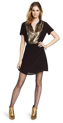 Juicy Couture Gold Sequin Crepe Dress