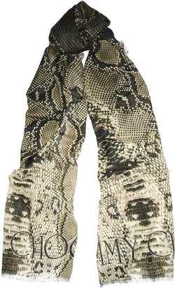 Jimmy Choo Silver snake-print wool and silk-blend scarf