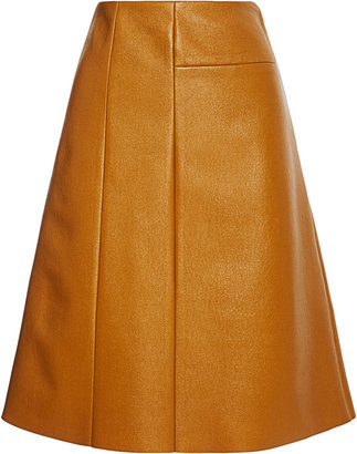 Peter Som Coated Wool A-Line Skirt