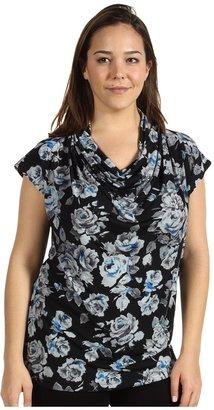 Klein Plus Anne Plus Size Floral Print Cowl Neck Top (Cerulean Multi) - Apparel