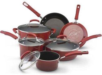 Rachael Ray 10-pc. Nonstick Porcelain Enamel II Cookware Set, Red Gradient