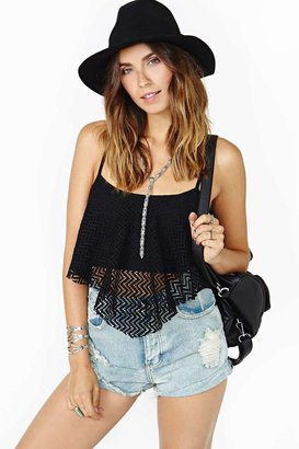 Nasty Gal Summer Again Crop Tank - Black