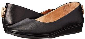 French Sole Zeppa Flat (Black Nappa) Women's Slip on Shoes