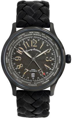 Tommy Bahama Watch, Men's Swiss Black Woven Leather Strap 42mm TB1236