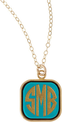 Moon and Lola Small Square Acrylic Monogram Pendant Necklace