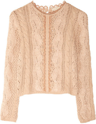 Vanessa Bruno Macramé-trimmed open-knit sweater