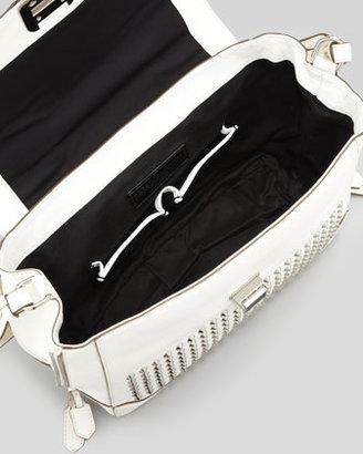 Rebecca Minkoff Elle Studded Leather Satchel Bag, White