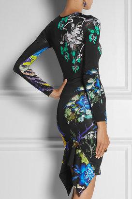 Just Cavalli Printed stretch-satin jersey dress