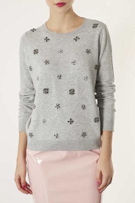Topshop Knitted Embellished Jumper