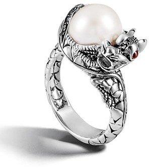 Women's John Hardy 'Naga - Lava' Dragon & Pearl Ring $495 thestylecure.com