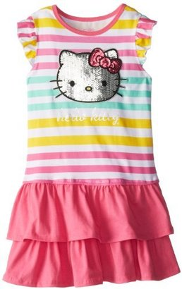 Hello Kitty Girls 7-16 Flutter Sleeve Dress with Sequin Applique