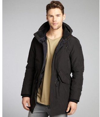 Scotch & Soda black cotton-blend down filled hooded coat