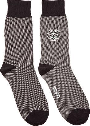 Kenzo Black & Grey Embroidered Tiger Socks