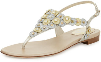 Rene Caovilla Pearly Embroidered Thong Sandal, Platino