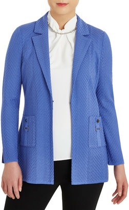 Misook Plus Size Solid Chevron Textured Jacket with Pockets