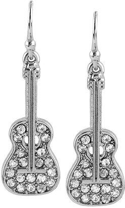 Betsey Johnson Earrings, Silver-Tone Crystal Guitar Drop Earrings