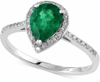 Effy Brasilica by Emerald (9/10 ct. t.w.) and Diamond (1/6 ct. t.w.) Pear-Shaped Ring in 14k White Gold
