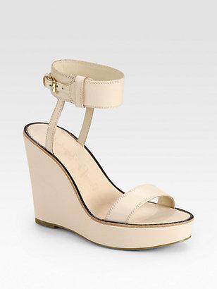 Elizabeth and James Brit Leather Ankle Strap Wedge Sandals