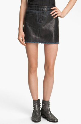 Zadig & Voltaire Oil Washed Stretch Denim Miniskirt