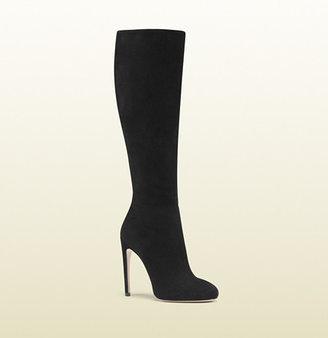 Gucci Goldie Black Suede High Heel Boot