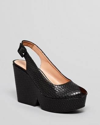 Robert Clergerie Peep Toe Platform Wedge Slingbacks - Dylan Wedge