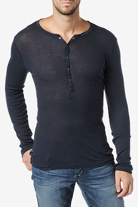 Hudson Jeans L/S Ribbed Knit Henley- Black Iris