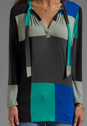 Plenty by Tracy Reese Printed Jersey Tie Neck Blouse