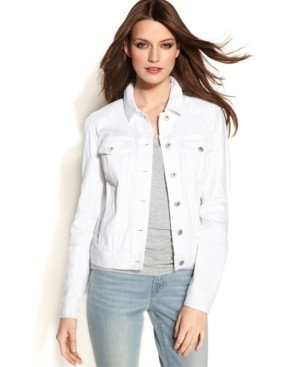 Vince Camuto Long-Sleeve Denim Jacket, White Wash