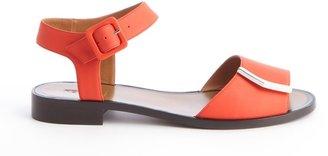 Fendi Poppy Leather Gold Detail Anklestrap Flat Sandals