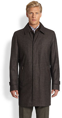 Saks Fifth Avenue Black Label Tweed Rain Coat