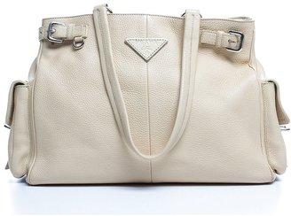Prada Pre-Owned Beige Leather Side Pockets Large Shoulder Bag