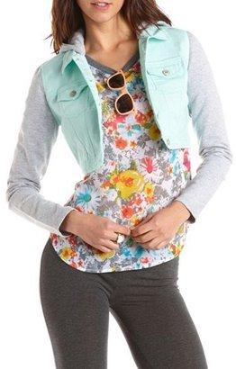 Charlotte Russe Knit Hood Cropped Denim Jacket