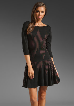Tracy Reese Jagged Stripe Knit Flared Dress in Black/Chestnut