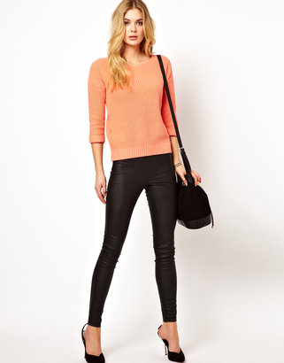 Vila Leather Look Skinny Pant