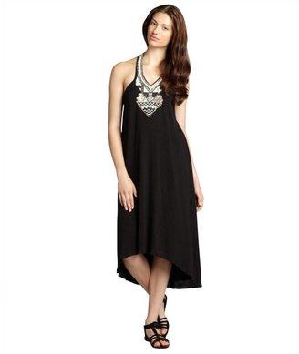 Love Sam black cotton gauze beaded halter hi-low maxi dress
