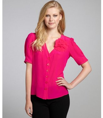 Nanette Lepore tahiti pink silk 'Klassy Kats' flower button front blouse