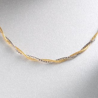 14k Gold Two Tone Twisted Mirror Spring Chain Necklace - 17-In.