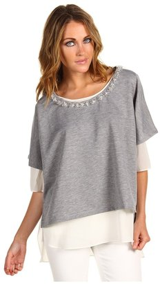 Robert Rodriguez Jeweled Double Layer Pullover (Heather) - Apparel
