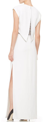 ADAM by Adam Lippes Peekaboo-Lace Cap-Sleeve Crepe Gown, White