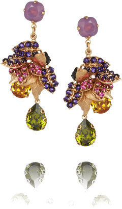 Swarovski Bijoux Heart Tres 24-karat gold-plated crystal earrings