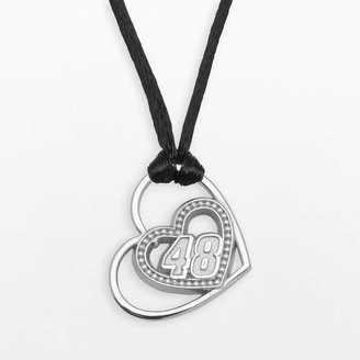 """Insignia Collection NASCAR Jimmie Johnson Sterling Silver """"48"""" Heart Pendant"""