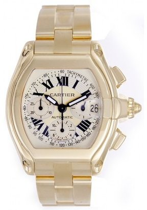 Cartier excellent (EX Roadster Chronograph 18k Yellow Gold Men's Automatic Watch