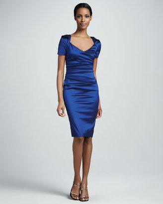Talbot Runhof Ruched Short-Sleeve Cocktail Dress