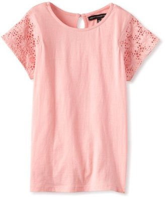 French Connection Girl's 7-16 Eva Tee Short Sleeve Top, Parasol Pink, 16