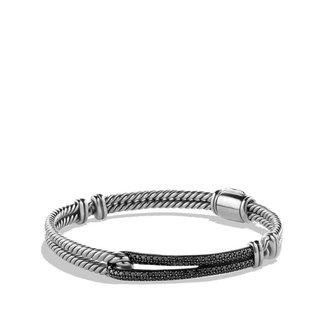 David Yurman Petite Pavé; Labyrinth Single-Loop Bracelet with Black Diamonds