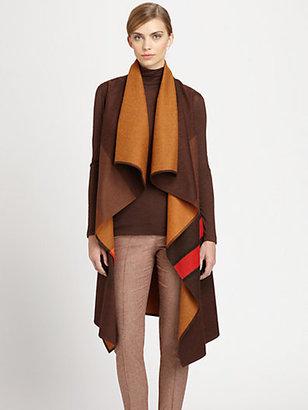 Akris Striped Draped Wool-Blend Gilet