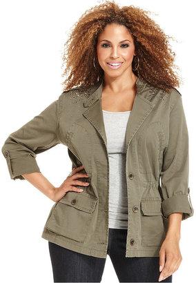Style&Co. Plus Size Jacket, Rhinestone Anorak