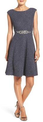 Women's Eliza J Embellished Glitter Knit Fit & Flare Dress $198 thestylecure.com