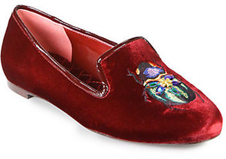 Tory Burch Easton Velvet & Patent Leather Smoking Slippers