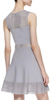 Torn By Ronny Kobo Mabel Open Stitch Fit-And-Flare Dress, Gray
